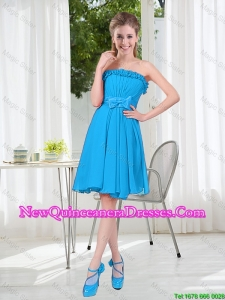 A Line Strapless Dama Dresses with Bowknot in Blue