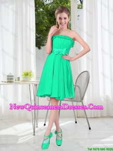 A Line Strapless Turquoise Damas Dresses for Spring