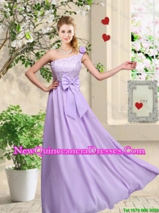 Fashionable One Shoulder Damas Dresses with Hand Made Flowers