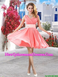 Perfect Short Belt and Ruched Damas Dresses in Watermelon