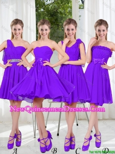 2016 Fall A Line Bowknot Dama Dresses in Purple