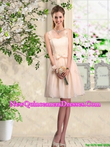 Beautiful Champagne Straps Dama Dresses with Bowknot