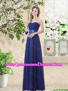 Discount Sweetheart Floor Length Dama Dresses with Sash
