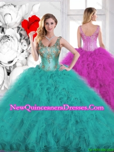 2016 Spring Beading Scoop Teal Sweet 16 Dresses with Ruffles