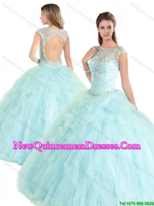 Beautiful Cap Sleeves Beading Quinceanera Gowns with Open Back