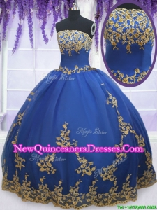 2017 Low Price Strapless Zipper Up Blue Quinceanera Gown with Gold Appliques