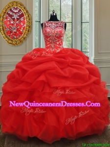 2017 Luxurious See Through Bateau Bubble and Ruffled Red Quinceanera Dress in Organza