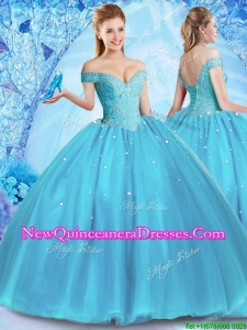 2017 Perfect Off the Shoulder Quinceanera Dress with Venetian Pearl