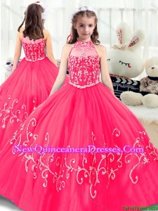 Lovely High Neck Little Girl Pageant Dresses in Hot Pink