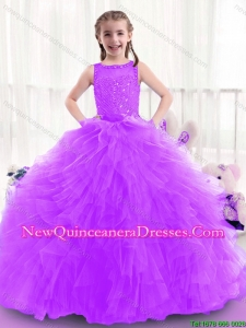 New Style Zipper Up Little Girl Pageant Dresses with Bateau