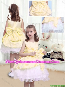 2016 Fall Perfect A Line Scoop Sashes and Bowknot Cute Little Girl Pageant Dresses