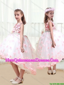 2016 New Arrivals High Low Cute Little Girl Pageant Dresses with Appliques