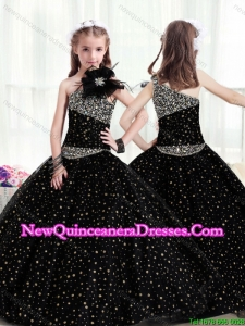Popular One Shoulder Cute Little Girl Pageant Dresses with Pattern and Beading