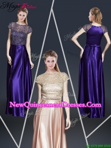 Empire Bateau Dama Dresses with Appliques and Belt