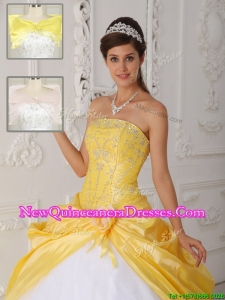 Beautiful Cheap Strapless Quinceanera Gowns with Appliques for 2016