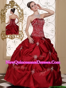 2016 Elegant New Arrivals Embroidery Wine Red Strapless Quinceanera Dresses