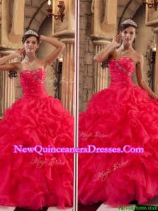 Elegant Luxurious Red Sweetheart Quinceanera Gowns with Ruffles