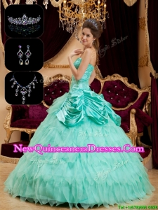 Elegant Luxurious Strapless Quinceanera Gowns with Pick Ups and Ruffles