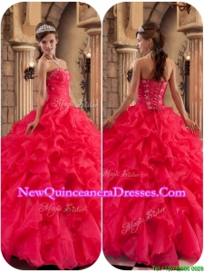 Elegant Modest Beading and Ruffles Quinceanera Dresses in Coral Red
