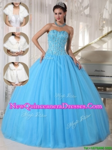 Elegant Romantic Beading Ball Gown Floor Length Quinceanera Dresses