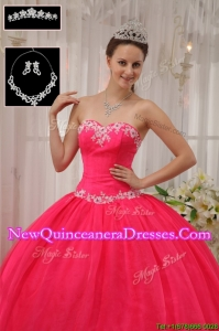 Latest Ball Gown Appliques Quinceanera Dresses in Coral Red