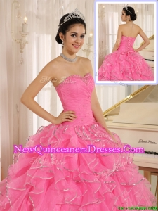 Latest Ruffles and Beading Rose Pink Quinceanera Dresses