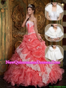 2016 Exquisite Appliques and Ruffles Quinceanera Gowns in Waltermelon
