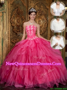 2016 Hot Sale Strapless Quinceanera Dresses with Appliques and Ruffles