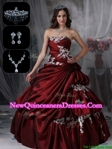 2016 Luxurious Strapless Quinceanera Dresses in Burgundy