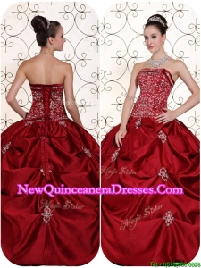 Best Selling Embroidery and Pick Ups Strapless Quinceanera Dresses