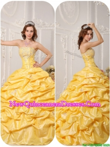 Luxurious Ball Gown Pick Ups and Appliques Quinceanera Gowns