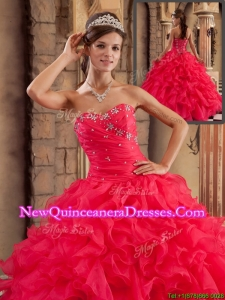 2016 Classical Sweetheart Ruffles Quinceanera Dresses in Red