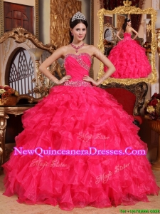 2016 Latest Coral Red Ball Gown Floor Length Quinceanera Dresses
