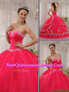 New Style Coral Red Quinceanera Gowns with Appliques