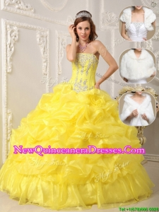 New Style Perfect Strapless Quinceanera Gowns with Beading and Ruffles