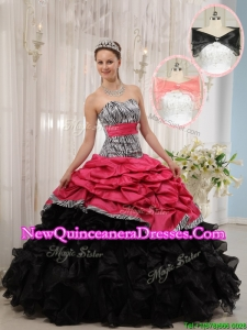 New Style Red and Black Sweetheart Quinceanera Dresses in Zebra