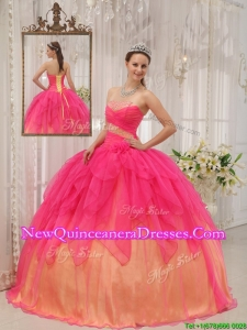 2016 Classical Hot Pink Strapless Quinceanera Gowns with Beading