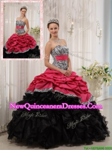 Perfect Best Selling Ruffles Sweetheart Quinceanera Gowns in Red and Black
