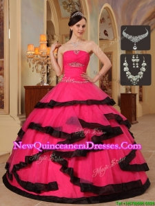 Popular Romantic Appliques Quinceanera Dresses in Red and Black