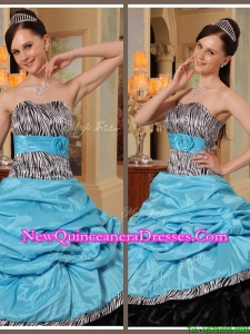 Popular Ruffles Strapless Quinceanera Gowns in Blue and Black