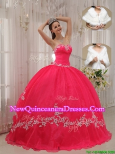 2016 Popular Sweetheart Appliques Quinceanera Gowns in Coral Red