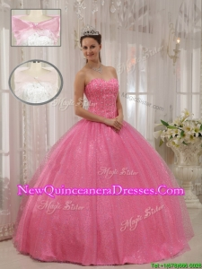 Gorgeous Sweetheart Beading Pretty Sweet 15 Dresses in Pink