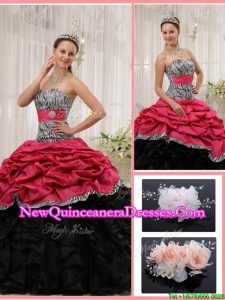 Romantic Sweetheart Zebra Quinceanera Gowns with Ruffles