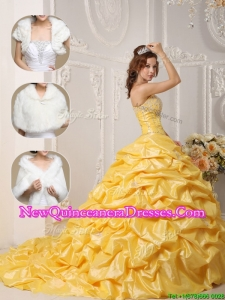 Top Seller Classical Court Train Quinceanera Gowns with Pick Ups and Appliques