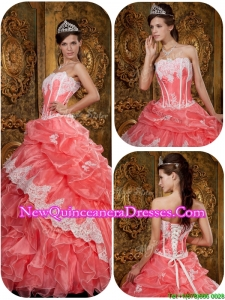 Top Seller Exclusive Waltermelon Quinceanera Gowns with Appliques and Ruffles