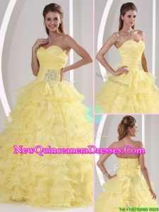Top Seller Gorgeous Sweetheart Quinceaners Gowns with Appliques and Ruffled Layers