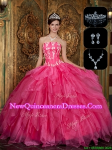 Top Seller New Arrivals Strapless Sweet 16 Dresses with Appliques and Ruffles