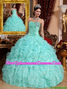 2016 Exquisite Beading and Ruffles Quinceanera Dresses in Apple Green