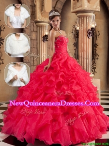 Elegant Beading and Ruffles Sweet 16 Dresses in Coral Red