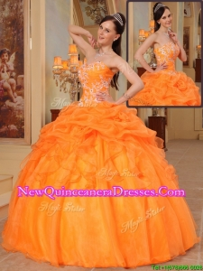 Top Seller New Arrivals Appliques Sweetheart Quinceanera Dresses in Orange Red